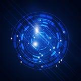 Αφηρημένο μπλε υπόβαθρο κύκλων τεχνολογίας Στοκ Φωτογραφία