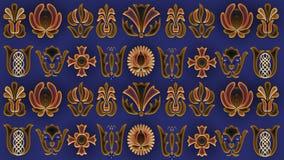 Αφηρημένο μπλε υπόβαθρο με τα λαϊκά χρυσά σχέδια, εικόνα ράστερ Στοκ φωτογραφία με δικαίωμα ελεύθερης χρήσης