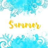 Αφηρημένο μπλε υπόβαθρο με τα doodles και Στοκ Φωτογραφία