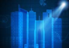 Αφηρημένο μπλε υπόβαθρο με το σκίτσο εικονικής παράστασης πόλης Στοκ Φωτογραφία
