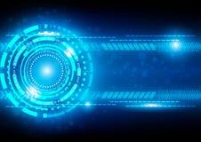 Αφηρημένο μπλε υπόβαθρο τεχνολογίας με τη σύνδεση και το φωτεινό Φ Στοκ Εικόνα
