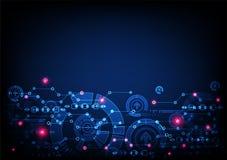 Αφηρημένο μπλε χρωματισμένο τεχνολογικό υπόβαθρο με το διάφορο elem απεικόνιση αποθεμάτων