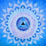 Αφηρημένο μπλε χρωματισμένο mandala εικόνων Vishuddha διανυσματική απεικόνιση