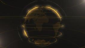 Αφηρημένο μόριο Ο χρυσός, πορτοκαλής πλανήτης μέσα το ένα, δημιουργημένος των σημείων Μικρά άσπρα σημεία στο υπόβαθρο διανυσματική απεικόνιση