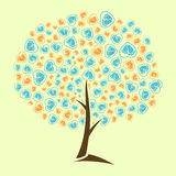 Αφηρημένο λογότυπο καρδιών ιχνών μωρών δέντρων Στοκ Φωτογραφία