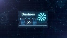 Αφηρημένο ολόγραμμα Επαγγελματική κάρτα με ένα σημάδι των βελών, μπλε gear-wheel και μερικών άλλων διαγραμμάτων E ελεύθερη απεικόνιση δικαιώματος