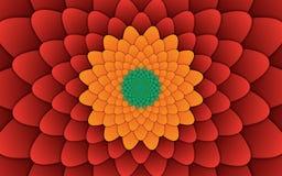 Αφηρημένο λουλουδιών κόκκινο υπόβαθρο σχεδίων mandala διακοσμητικό οριζόντιο Στοκ Εικόνες