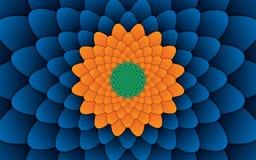 Αφηρημένο λουλουδιών μπλε υπόβαθρο σχεδίων mandala διακοσμητικό οριζόντιο Στοκ Φωτογραφίες