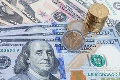 αφηρημένο δολάριο τραπεζογραμματίων ανασκόπησης οικονομικό Στοκ Εικόνα