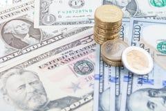 αφηρημένο δολάριο τραπεζογραμματίων ανασκόπησης οικονομικό Στοκ Εικόνες