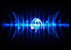 Αφηρημένο παγκόσμιο μπλε με το υπόβαθρο τεχνολογίας δυαδικού κώδικα Ιλλινόις Στοκ εικόνες με δικαίωμα ελεύθερης χρήσης