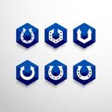 Αφηρημένο πεταλοειδές διανυσματικό πρότυπο σχεδίου λογότυπων Στοκ Εικόνα