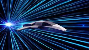 Αφηρημένο πετώντας διαστημόπλοιο στο κοσμικό διάστημα : Starship πετάγματος τη γραφικής παράστασης παιχνιδιών στο υπερδιάστημα κα διανυσματική απεικόνιση