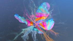 Αφηρημένο πολυ χρωματισμένο υπόβαθρο με το χρώμα μορίων στη μορφή πεταλούδων Στοκ Φωτογραφία