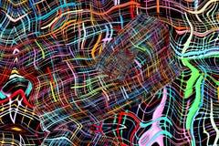 Αφηρημένο πολύχρωμο ριγωτό και στριμμένο fractals σχέδιο i απεικόνιση αποθεμάτων
