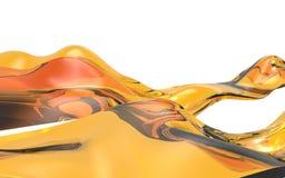 Αφηρημένο πορτοκαλί κύμα στο άσπρο υπόβαθρο Φουτουριστική μορφή τρισδιάστατη απεικόνιση απεικόνιση αποθεμάτων