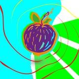 Αφηρημένο πορφυρό υπόβαθρο α της Apple, που σύρεται με τα κτυπήματα μελανιού Τα φρούτα των κηλίδων, γραμμές, κτυπήματα Στοκ Φωτογραφία