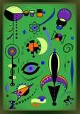 Αφηρημένο πράσινο υπόβαθρο, γαλλικός ζωγράφος Miro ` ύφους Στοκ Φωτογραφίες