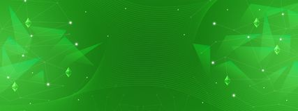 Αφηρημένο πράσινο υπόβαθρο για τη χρηματοδότηση, επιχείρηση, cryptocurrency, blockchain, ethereum, δίκτυα διανυσματική απεικόνιση