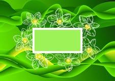 Αφηρημένο πράσινο υπόβαθρο με τη θέση κειμένων τελών λουλουδιών Στοκ φωτογραφία με δικαίωμα ελεύθερης χρήσης
