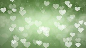 Αφηρημένο πράσινο υπόβαθρο Bokeh καρδιών διανυσματική απεικόνιση