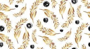 αφηρημένο πρότυπο άνευ ραφή&sig Κλάδοι με τα φύλλα και τα λουλούδια Στοκ Εικόνα
