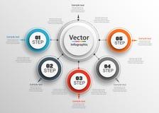Αφηρημένο πρότυπο επιλογών αριθμού infographics με πέντε βήματα στοκ εικόνα