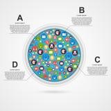 Αφηρημένο πρότυπο σχεδίου κύκλων infographic διανυσματική απεικόνιση