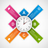 Αφηρημένο πρότυπο σχεδίου infographics από το ρολόι στο κέντρο Στοκ Εικόνες