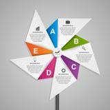 Αφηρημένο πρότυπο σχεδίου infographics επιλογών με μορφή του αέρα pinwheel διανυσματική απεικόνιση