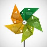 Αφηρημένο πρότυπο σχεδίου infographics επιλογών με μορφή του αέρα pinwheel Στοκ Φωτογραφία