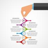 Αφηρημένο πρότυπο σχεδίου infographics με τα ανθρώπινα χέρια που κρατούν τους στρογγυλούς φραγμούς Στοκ φωτογραφία με δικαίωμα ελεύθερης χρήσης