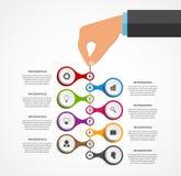 Αφηρημένο πρότυπο σχεδίου infographics με τα ανθρώπινα χέρια που κρατούν τους στρογγυλούς φραγμούς Στοκ εικόνα με δικαίωμα ελεύθερης χρήσης