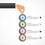 Αφηρημένο πρότυπο σχεδίου infographics με τα ανθρώπινα χέρια που κρατούν τους στρογγυλούς φραγμούς Στοκ εικόνες με δικαίωμα ελεύθερης χρήσης