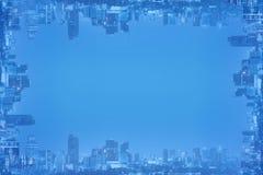 Αφηρημένο πλαίσιο υποβάθρου της εικονικής παράστασης πόλης και του διαστήματος για το αντίγραφο Στοκ φωτογραφία με δικαίωμα ελεύθερης χρήσης