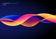 Αφηρημένο ρευστό με το δυναμικό δονούμενο χρώμα κυμάτων γραμμών επίδρασης στο σκούρο μπλε υπόβαθρο Φουτουριστικό ύφος τεχνολογίας διανυσματική απεικόνιση