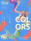 Αφηρημένο ρευστό σχέδιο αφισών χρωμάτων απεικόνιση αποθεμάτων