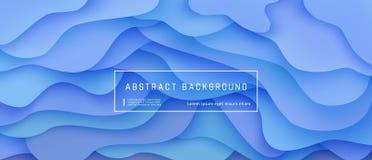 Αφηρημένο ρευστό υπόβαθρο κλίσης με την εκφραστική μπλε ροή κινήσεων κυμάτων και την υγρή σύνθεση μορφών διανυσματική απεικόνιση