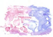 Αφηρημένο ροδανιλίνης υπόβαθρο watercolor σμέουρων ρόδινο και σκούρο μπλε μικτό τζιν Αυτό ` s χρήσιμο για τις ευχετήριες κάρτες στοκ φωτογραφία με δικαίωμα ελεύθερης χρήσης