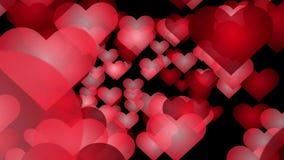 Αφηρημένο ρομαντικό υπόβαθρο - μέρος των κόκκινων καρδιών κινούμενων σχεδίων που πετούν στη κάμερα απόθεμα βίντεο