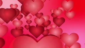 Αφηρημένο ρομαντικό υπόβαθρο - μέρος των κόκκινων καρδιών κινούμενων σχεδίων που πετούν στη κάμερα φιλμ μικρού μήκους