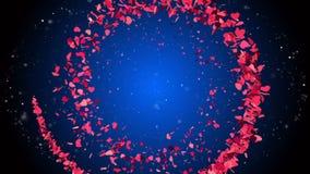 Αφηρημένο ρομαντικό υπόβαθρο με τις πετώντας πορφυρές καρδιές απόθεμα βίντεο