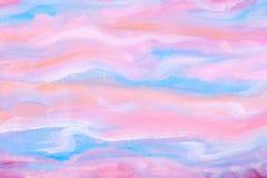 Αφηρημένο ρόδινο και μπλε υπόβαθρο ζωγραφικής χεριών Σύσταση υποβάθρου θαμπάδων Έννοια τέχνης, σχεδίου και απεικόνισης Ακρυλική ε Στοκ φωτογραφία με δικαίωμα ελεύθερης χρήσης