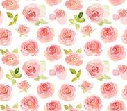 Αφηρημένο ρόδινο άνευ ραφής σχέδιο watercolor τριαντάφυλλων Στοκ Φωτογραφία
