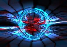 Αφηρημένο σκοτάδι - μπλε - κόκκινο τεχνικό υπόβαθρο διανυσματική απεικόνιση