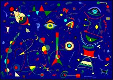 Αφηρημένο σκούρο μπλε υπόβαθρο, ζωγράφος Miro ` ύφους Στοκ Εικόνα