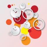 Αφηρημένο στρογγυλό ρολόι με το διανυσματικό υπόβαθρο φυσαλίδων Στοκ Εικόνες