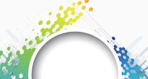 Αφηρημένο στρογγυλό hexagon υπόβαθρο τεχνολογίας και πληροφοριών διανυσματική απεικόνιση