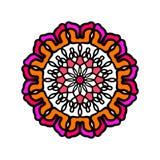 Αφηρημένο συρμένο χέρι ζωηρόχρωμο mandala λουλουδιών για τις κατηγορίες joga ελεύθερη απεικόνιση δικαιώματος