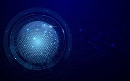 Αφηρημένο σφαιρικό και σκούρο μπλε υπόβαθρο έννοιας σύνδεσης τεχνολογίας δικτύων φουτουριστικό επίσης corel σύρετε το διάνυσμα απ Στοκ Εικόνα